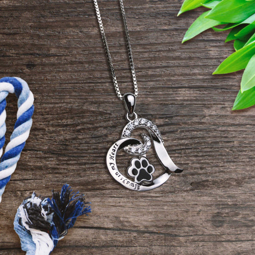 Always In My Heart Paw Necklace