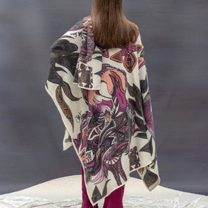 Kaschmir CAPE handgefertigt 200x140 FLAMINGOS Limitiert! Pink-mauve-orange on white