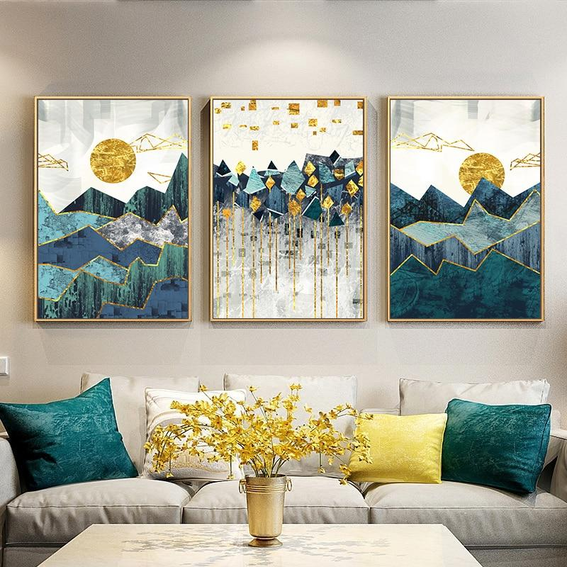 Nordic Abstract Geometric Mountain Landscape Wall Art Canvas - Dave's Deal Depot