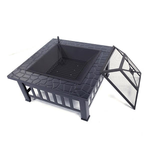 Courtyard Fire Pit Table W/ Black Stove Burner - Dave's Deal Depot