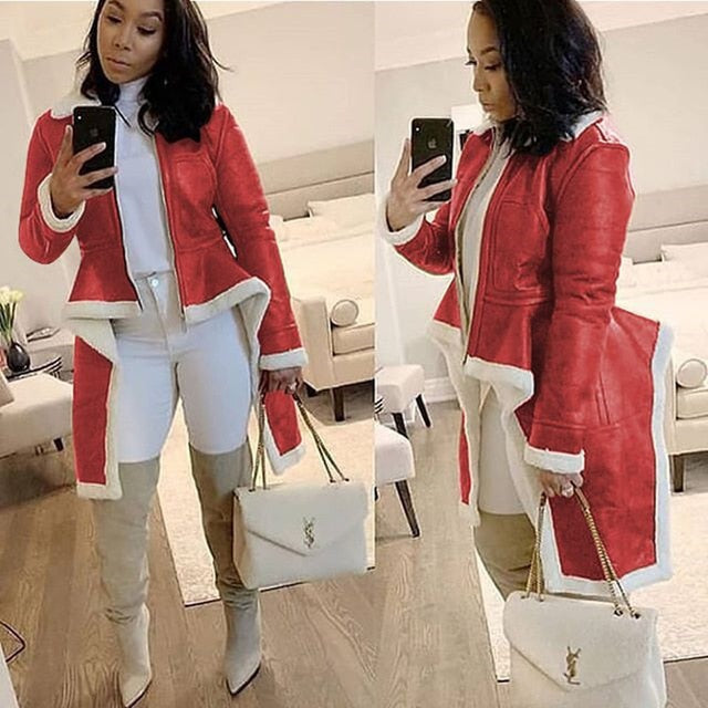 Women's Long Leather Winter Coat