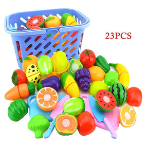 23Pcs Play Kitchen Fruit Vegetable Toy Cutting Set