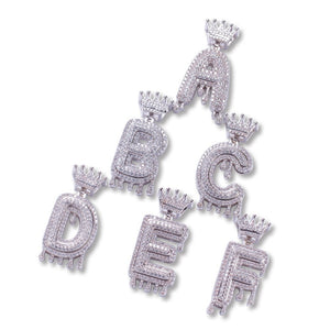 Custom Crown Drip Bubble Letter Pendant W/ Chain - Dave's Deal Depot