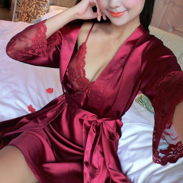 2 Pcs Sexy Silk Lace Pajama Set
