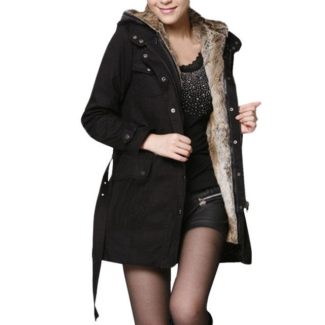 Women Vintage Fur Lined Coat