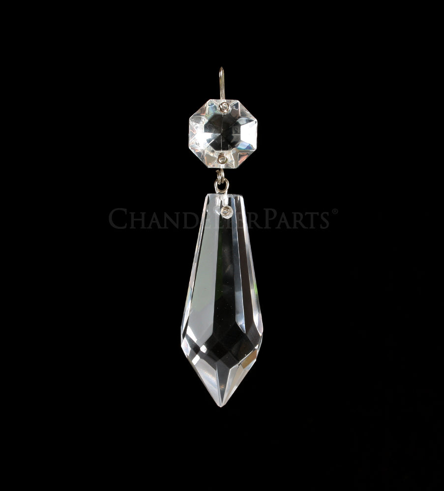 Czech Crystal Plug Drop w/ Top Bead <br> (6 sizes)