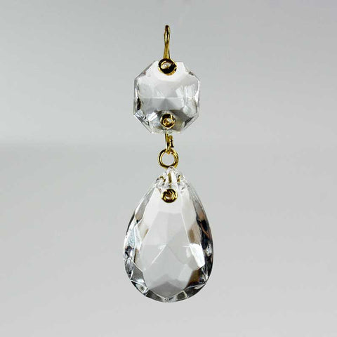 "1"" Clear Teardrop Prism <br>(Brass pin)"