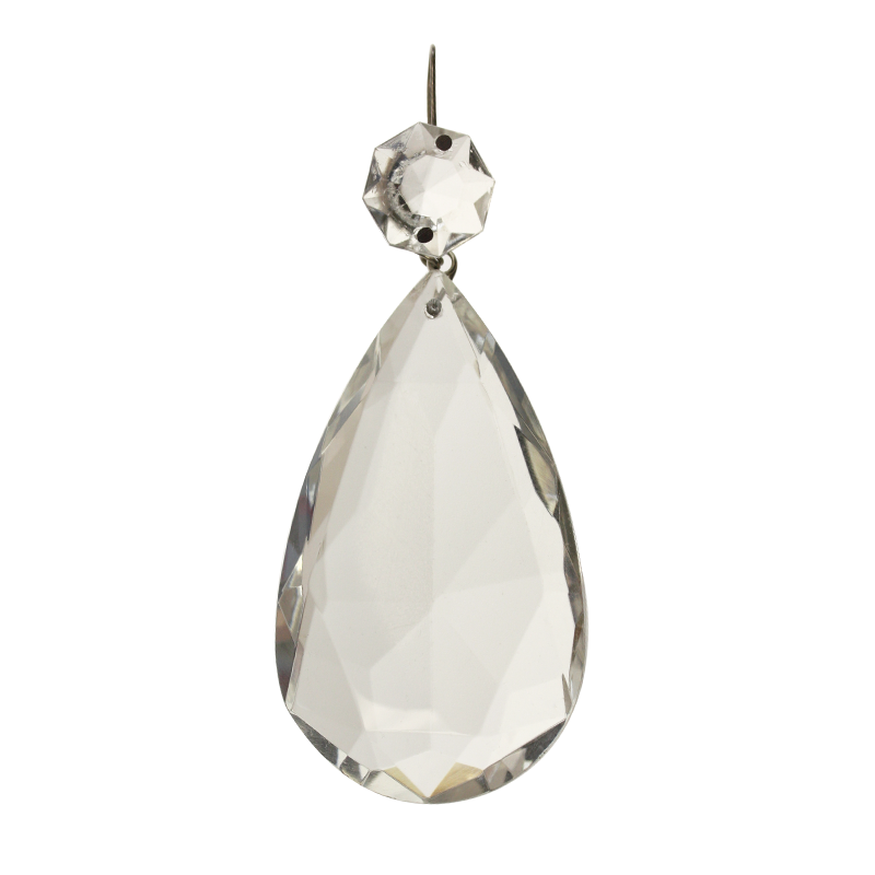 2'' Clear Teardrop Prism, Traditional Cut<br>(Brass or Chrome)