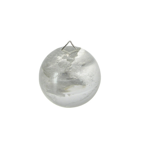 70mm Clear Ball Rock Crystal, top hang hole