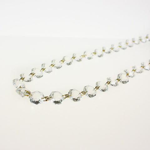1m Length 14mm Bead Italian Crystal Chain w/ Brass Snake Clips