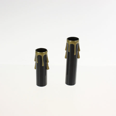 Black Candle Cover w/ Gold Drip (2 sizes), candelabra base