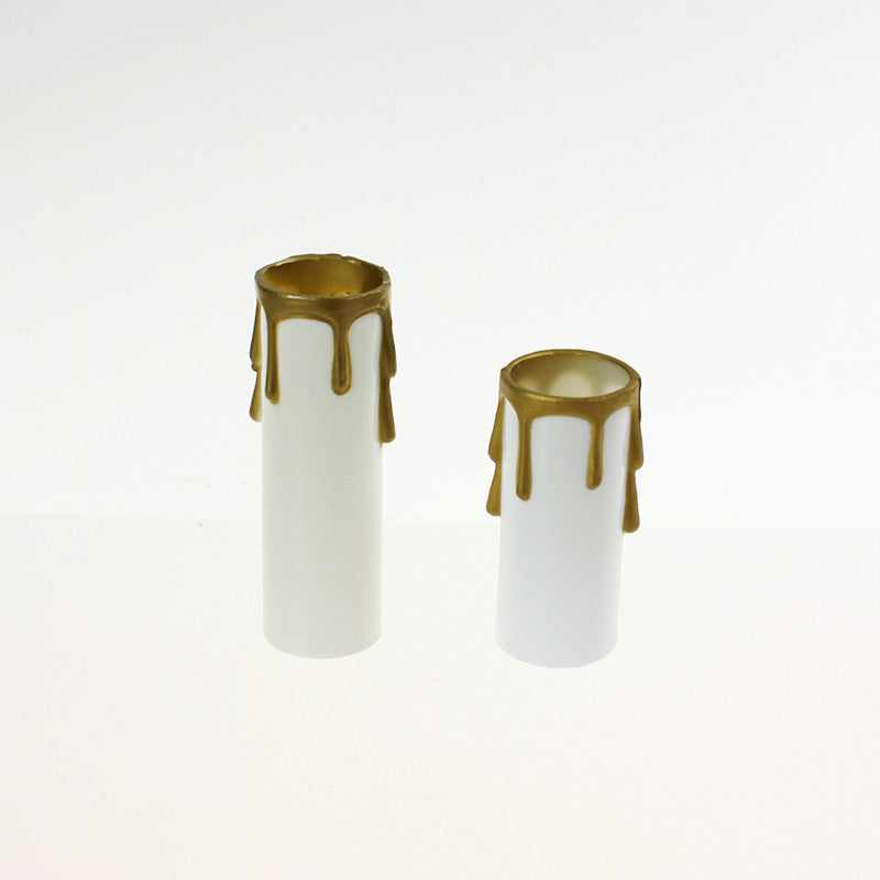 White Candle Cover w/ gold drip (2 sizes), medium base