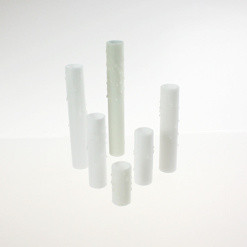White Drip Beeswax Candle Covers (7 sizes), candelabra base