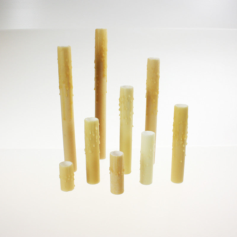 Tan (Bone) Drip Beeswax Candle Covers (9 sizes), candelabra base