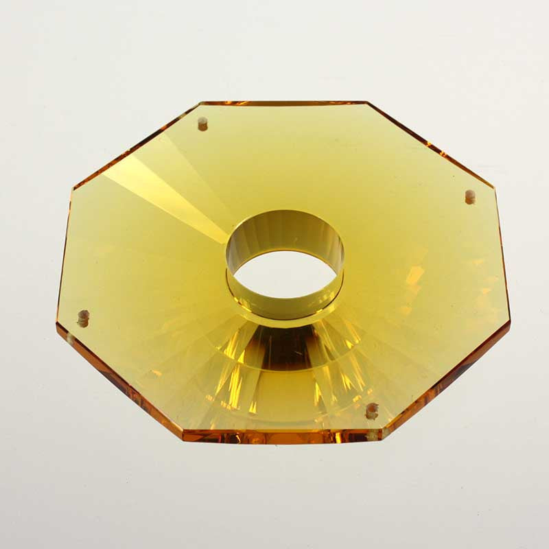 "4"" Amber 8-Edged Bobeche<br>4 pin holes"