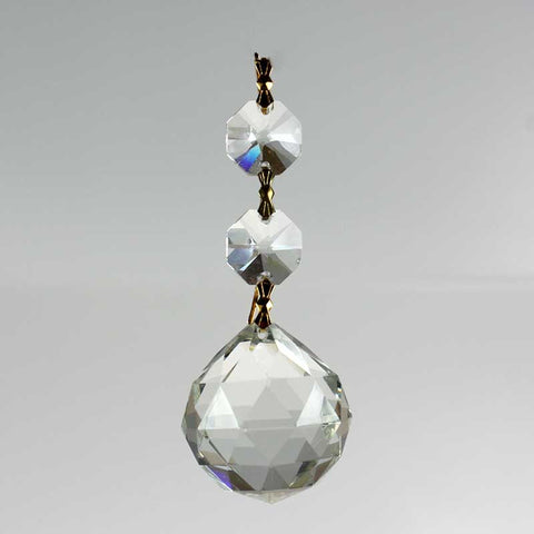 "1-1/4"" Faceted Crystal Ball w/ Leaded Top Beads <br> (6 styles)"
