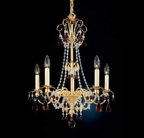 Schonbek Adagio 5 Light Topaz Crystal Chandelier