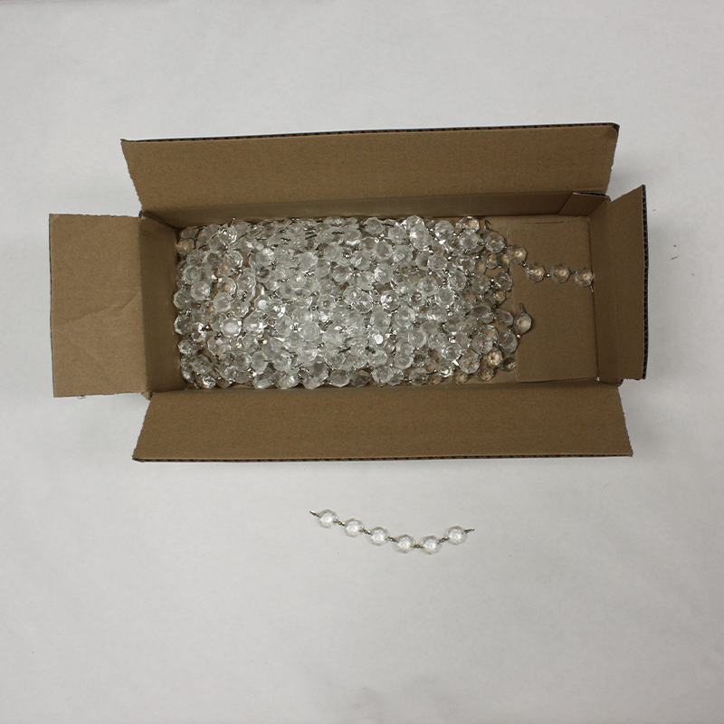 Box of 50 16mm Beaded Crystal Chain, slightly frosted, chrome bowties