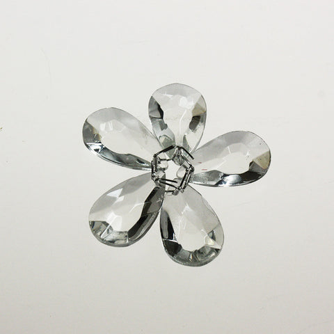"1"" Flowered Clear Italian Teardrops (5 wired together)"