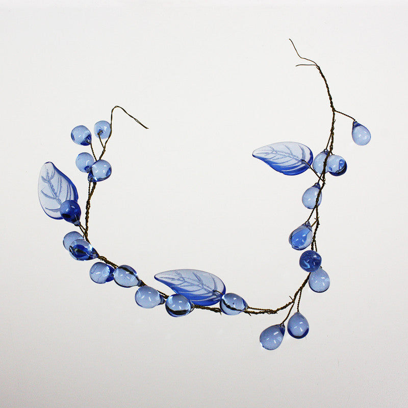 "12"" Strand of Blue leaves and grapes"