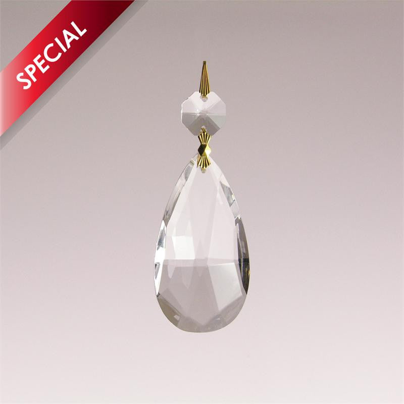 SPECIAL - Clear Teardrop w/ top bead (2 sizes)