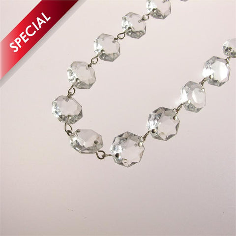 SPECIAL - Clear 16mm Octagon Chain, 1 meter length (chrome pinned)