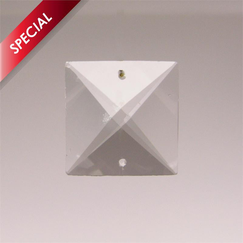 SPECIAL - 22mm Clear Square Prism<br> (2 hole) Clear or Amber