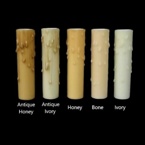 Antique Ivory Drip Beeswax Candle Covers (6 sizes), candelabra base