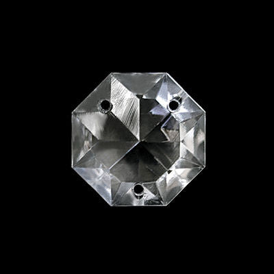 22MM PRESSED CRYSTAL 3 HOLE CZECH OCTAGON