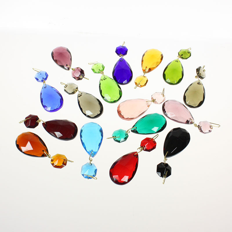 #324  1-1/2 inch, Hand Cut, Half Cut Teardrop w/14mm top bead (16 Colors)