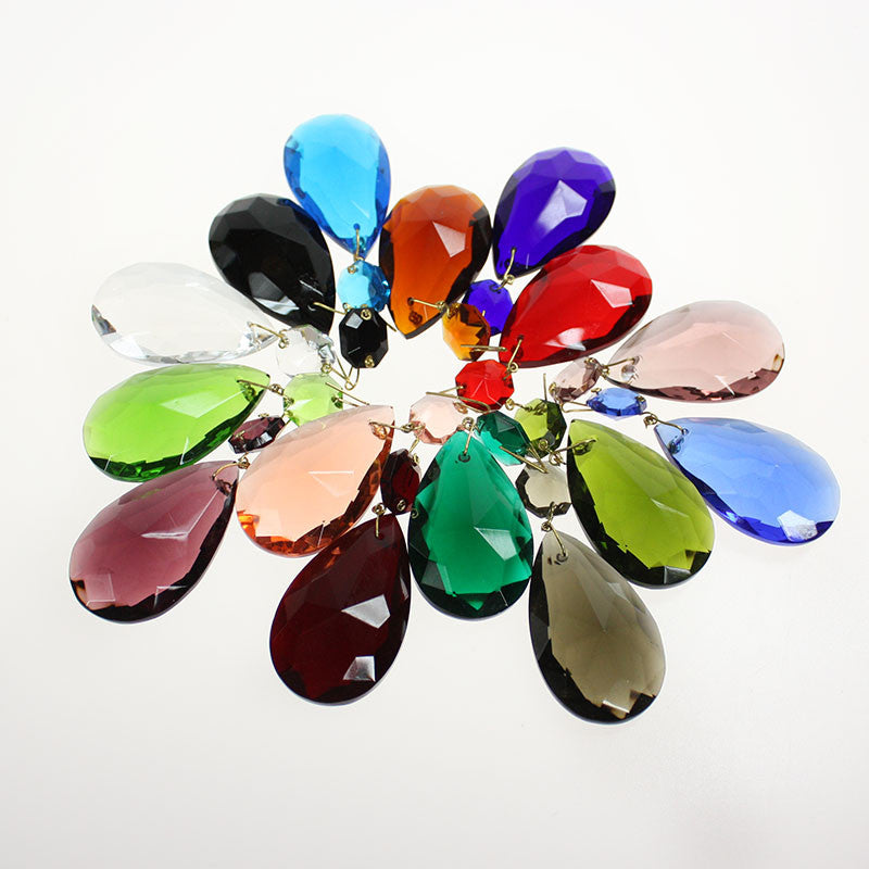 #324 50mm (2 inch) Hand Cut, Half Cut Teardrop w/ 14mm Octagon (16 Colors)