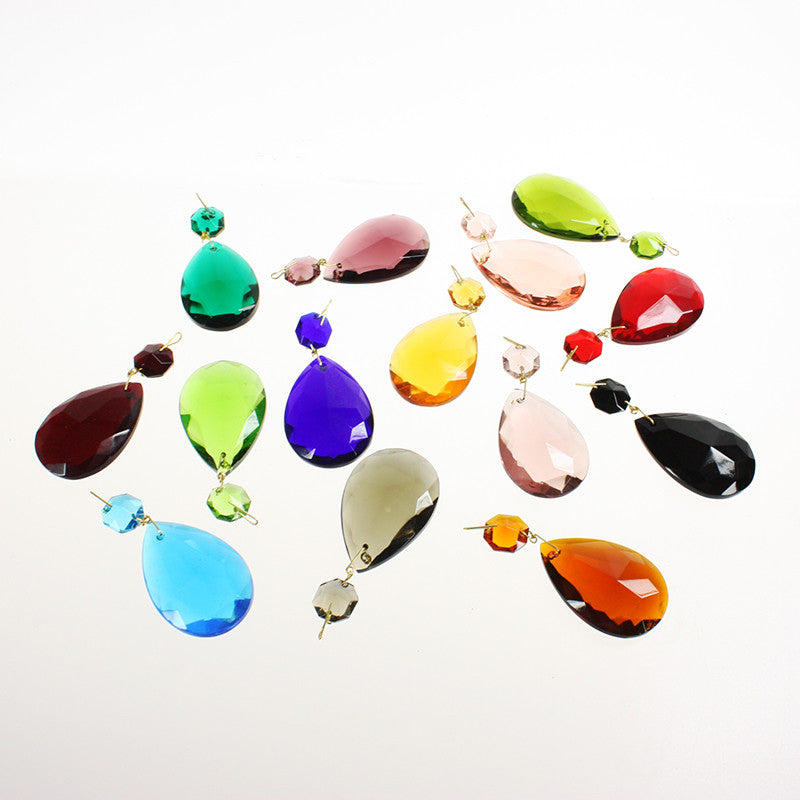 #390 50mm (2 inch) Hand Cut Half Cut Teardrop w/ 14mm Octagon <br> (14 Colors)