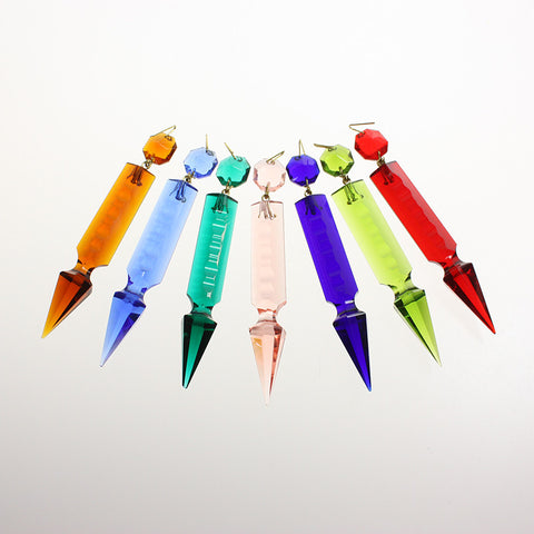 3.5 in Hand-cut Notched Pointed Spear w/ Octagon <br> (7 colors)