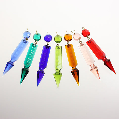 3 in Hand-cut Notched Pointed Spear w/ Octagon <br> (7 colors)