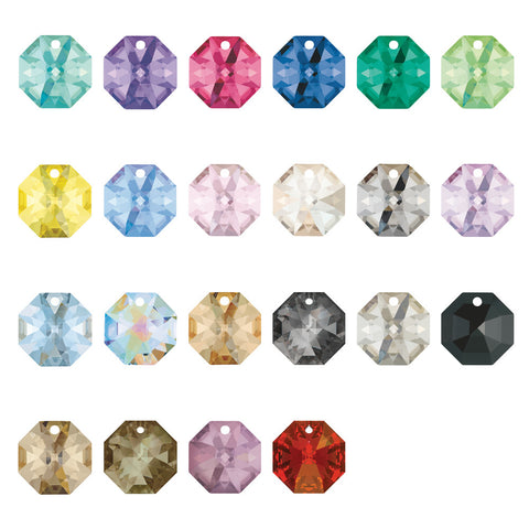 SWAROVSKI STRASS®<BR>14mm 1-hole Colored Octagons (22 colors) Pack of 10