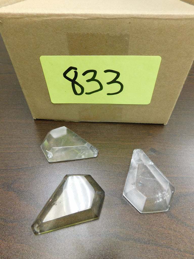 Box of 9  65mm Clear Cut Kite Rock Crystal
