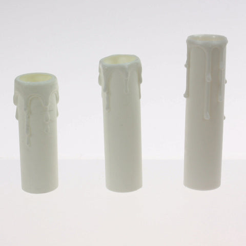 White Candle Cover w/ white drip (3 sizes) candelabra base