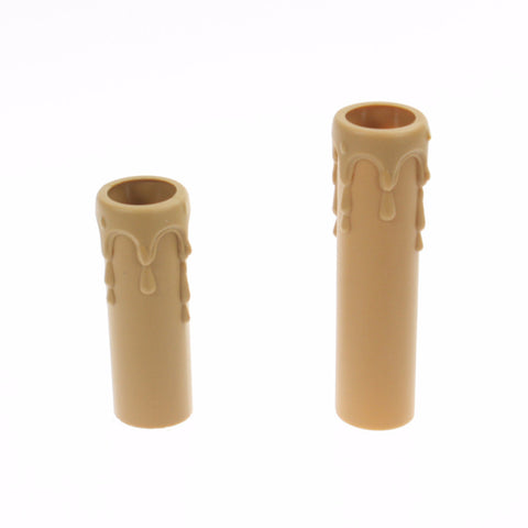 Dark Tan Plastic Drip Candle Covers (2 sizes) candelabra base