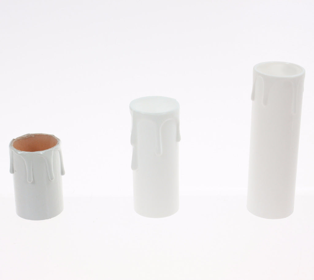 White Candle Cover w/ white drip (3 sizes) medium base