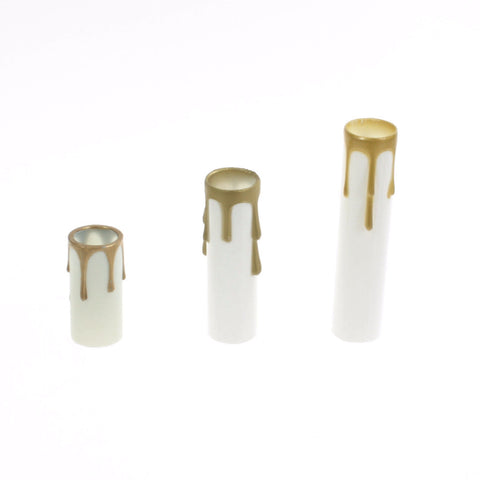 White Plastic Candle Cover w/ gold drip (3 sizes) candelabra base
