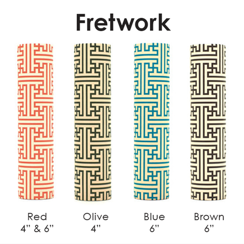 "4"" kaarskoker Designer Candle Cover (cb), Fretwork Design (2 colors)"