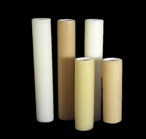 White NO DRIP Beeswax Candle Covers (5 sizes), candelabra base