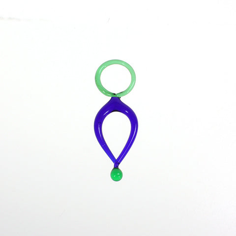 Green & Cobalt Murano Dangle, 82mm