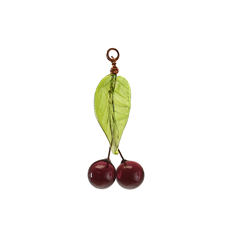 Cherry Drop with Green Leaf (Amethyst)