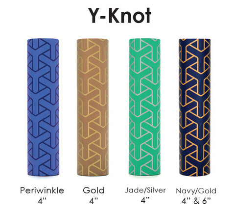 "4"" & 6"" kaarskoker Designer Candle Cover (cb), Y-Knot Design (4 colors)"