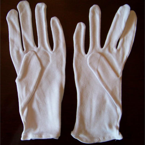 3 Pair White Cotton Gloves (2 sizes)
