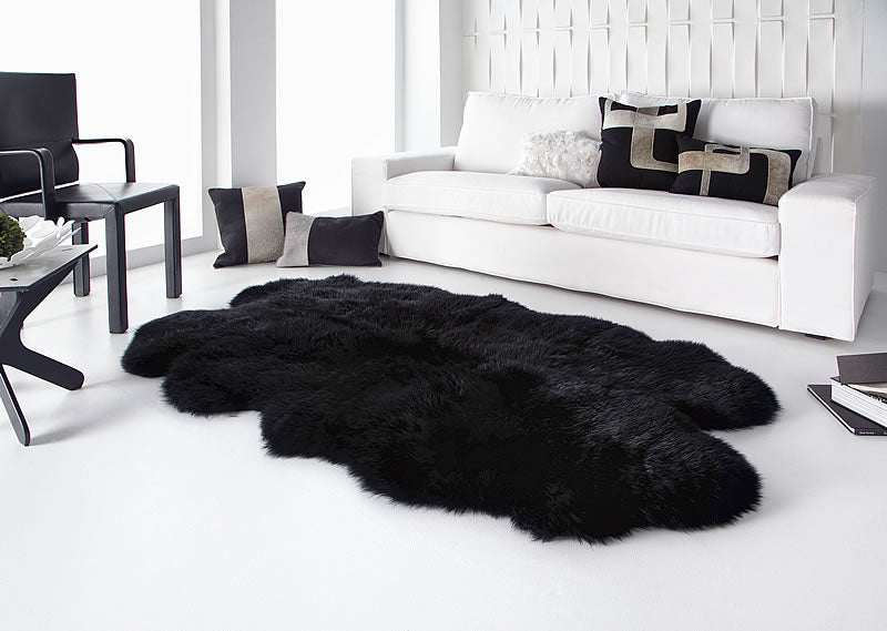 Quarto Black Sheepskin Rug