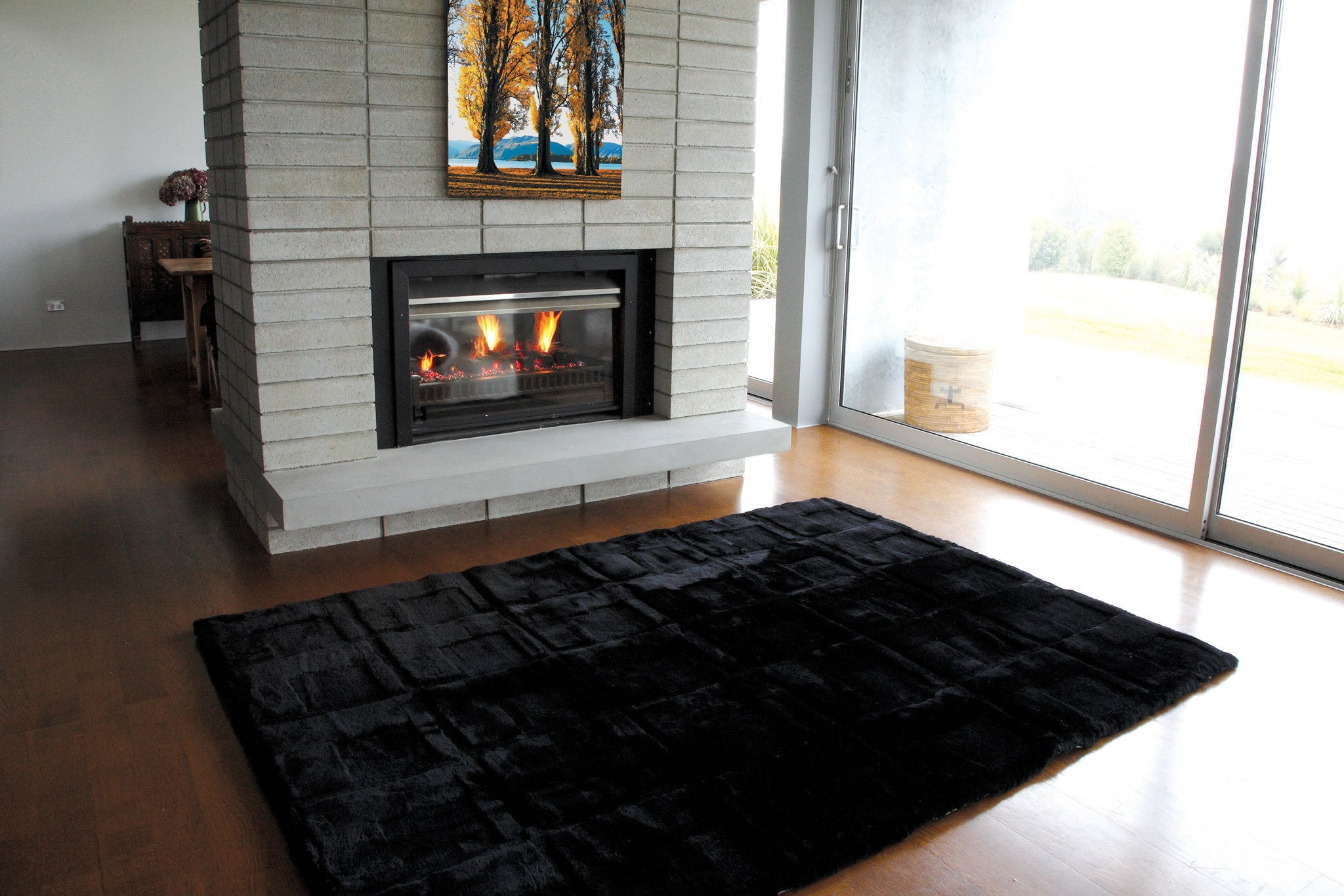 Blocks Design Rug - Black