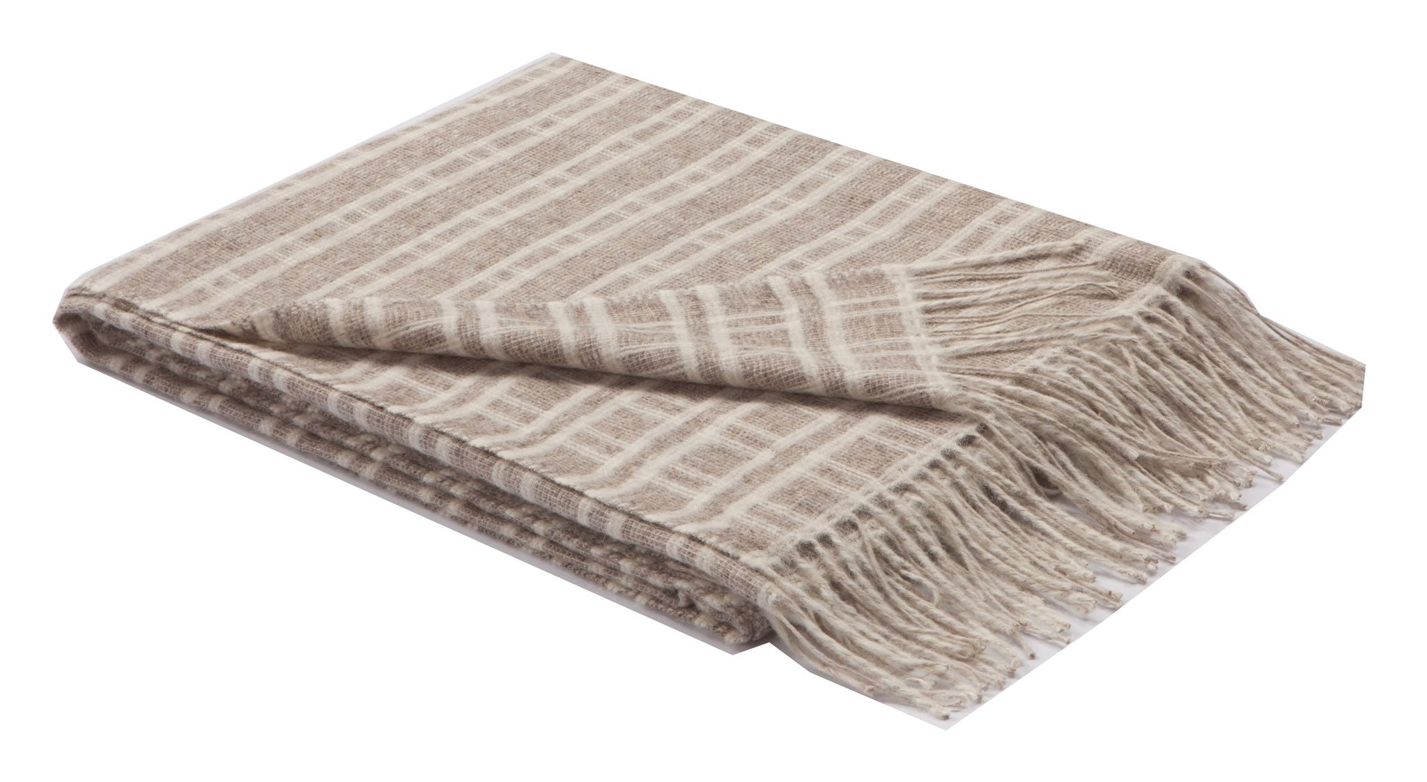 Woven Wool Throw - Driftwood & White