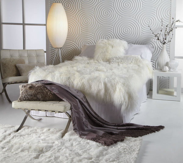 Ivory Tibetan Sheepskin Throw
